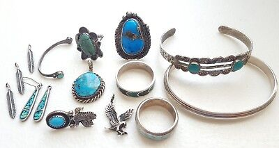 Vintage Sterling Silver Scrap Repair Jewelry Lot Old Pawn Navajo Signed 74 grams