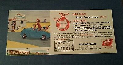 1960 Blotter Hertz Rental Car Agency Delmar Davis Baton Rouge Louisiana Unused