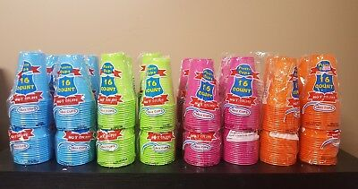 16oz Party Plastic Cups 128pk HOT COLORS BLUE GREEN PINK ORANGE