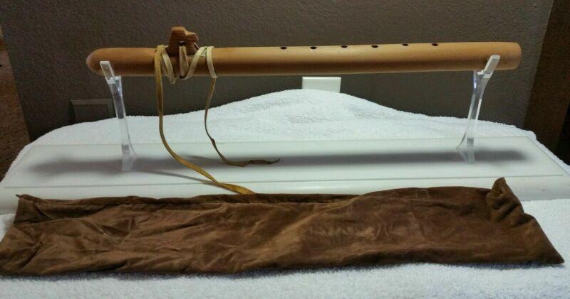 Beautiful  Native American Wood Custom Made 6 Hole Flute Signed w/ Sleeve