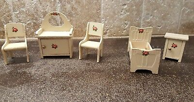 Antique German Dollhouse Bedroom Furniture Hand Painted Roses 5 Pieces