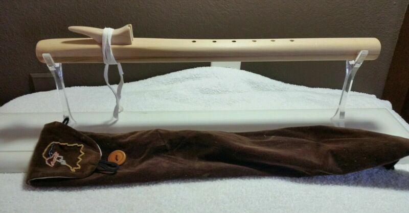 Beautiful Vintage Wood Custom Made Flute W/Beaded Bag
