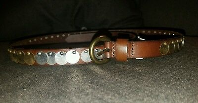 Abercrombie & Fitch Women's Leather Belt with Metal Details NWT 32