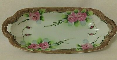 VINTAGE JAPANESE HAND PAINTED China LONG PLATE DISH
