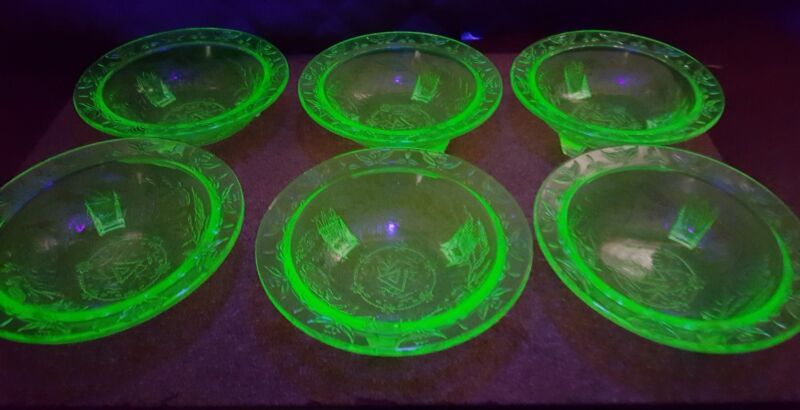 6 Rose and thorn by US Glass fruit bowls vaseline glass depression