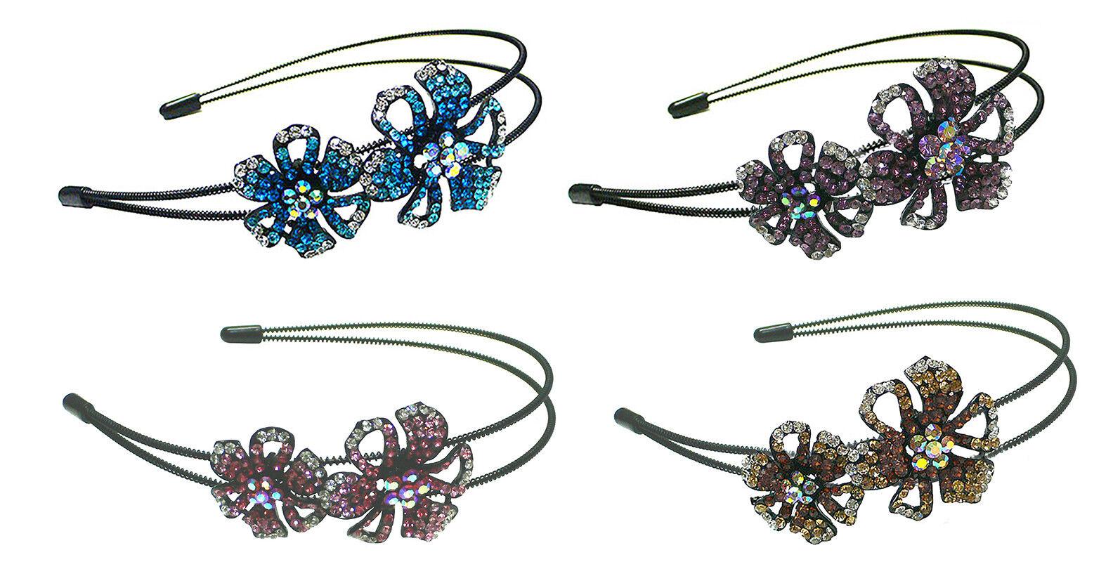 Bella Set of  4 Crystal Flower Headbands Metal Hair Bands Ad