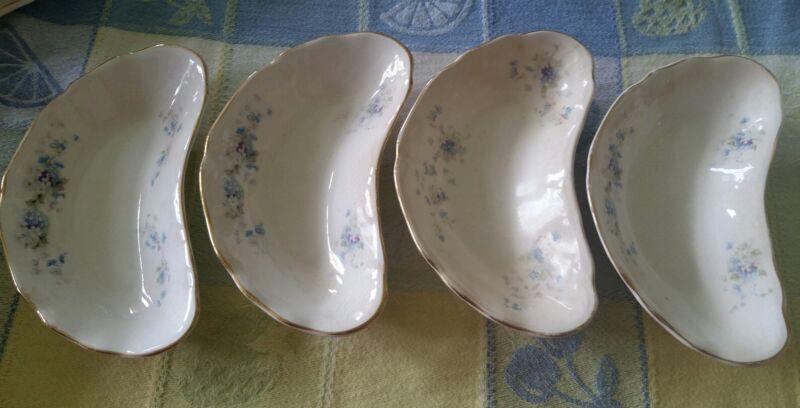 4 ANTIQUE K T K CO semi vetrous procelain crescent fish bone plates blue floral