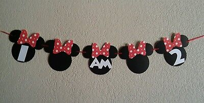 Minnie Mouse I AM 1, 2, 3 banner. High chair Minnie Banner. Free shipping USA](Mickey Mouse High Chair Decorations)