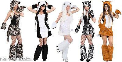 Eisbär Katzen Panda Bär Damen Kostüm Katze Katzenkostüm Leopard Tiger Zebra - Leopard Kostüm Damen