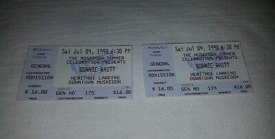 Bonnie Raitt 2 Concert Ticket Stubs July 4th 1998 Muskegon MI