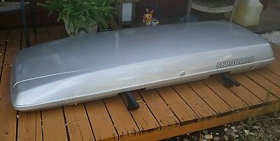 Skiguard 950 Rooftop Cargo Box Silver Low Profile Slim Aerodynamic Design - Silver Cargo Box