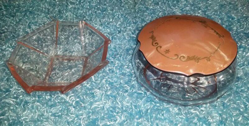 Vintage Celluloid Lidded Pink Glass Powder Jar Trinket Box Vanity Set