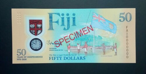 Fiji, 50 dollars polymer, 2020, Specimen, Commemorative 50 years of independence