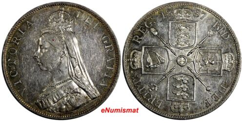 GREAT BRITAIN Victoria Silver 1887 Double Florin Mintage-483,000  KM#763