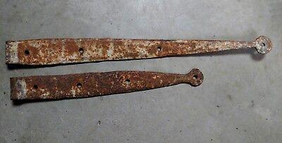 2 Antique Hand forged Iron Strap Hinges Barn Door Gate Vintage Primitive