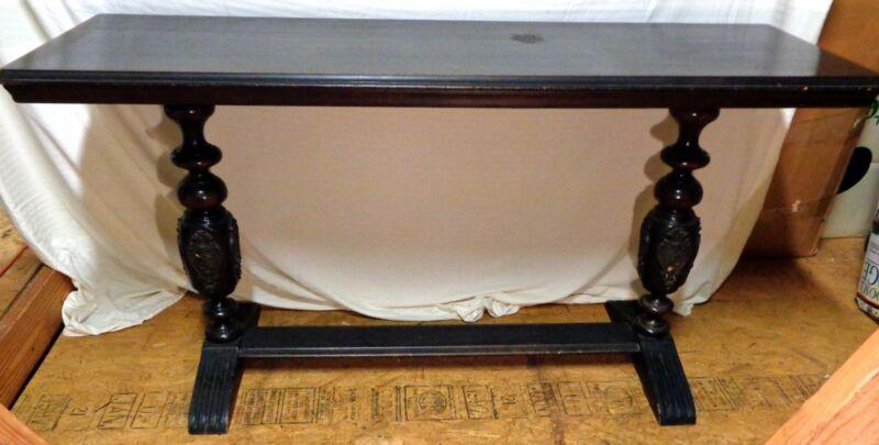 VTG ANTIQUE 1800s 1900s PEDESTAL TRESTLE BASE CARVED LIBRARY DINING TABLE - AL