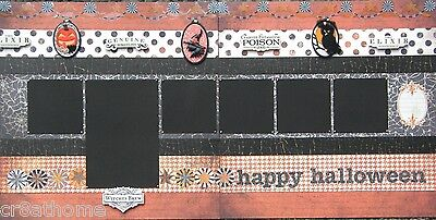 Halloween pre-made Double Page 12x12 Scrapbook Layout (H) - Halloween Double Page Layouts