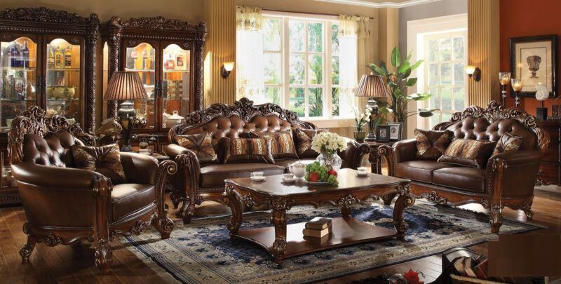 Vendome Cherry Traditional 3pc Set Formal Living Room Sofa Loveseat & Chair