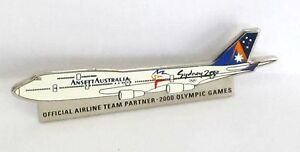 1015 ANSETT AIRLINES WHITE 747-400 SYDNEY 2000 OLYMPIC GAMES JET PLANE PIN BADGE