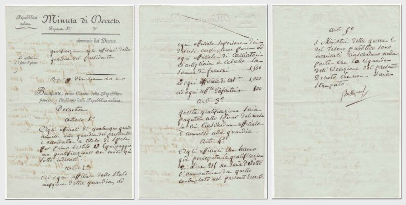 "Napoleon I. – Excellent Document Signed ""bonaparte"""