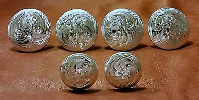 "Saddle Set     4 - 1 1/2"" & 2 - 1"" Hand Engraved Silver Conchos"