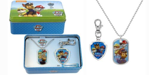 PAW PATROL Dog Tag Necklace & Key Chain Chase, Marshall, Rubble Nickelodeon NEW