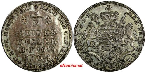 German States MUNSTER Maximilian Friedrich Silver 1764 1/3 Thaler SCARCE KM# 204