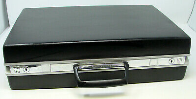 Vintage Samsonite Briefcase Black Slim Thin Hard Shell Attache Case Bond Cosplay