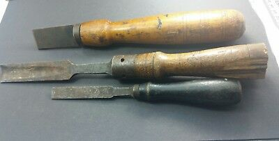 3 Antique Old Used Tools, 1 gouge/chisel, 2 chisels file combo