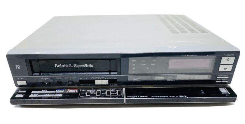Vintage Realistic Super Beta VCR Model 22 16-601 Video Cassette Recorder -TESTED
