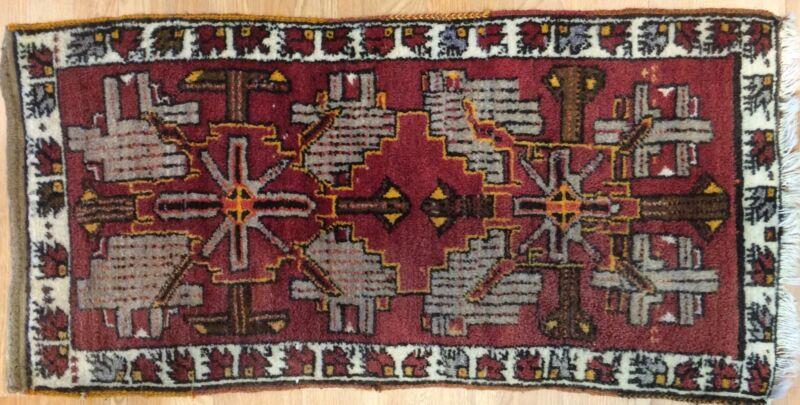 Tremendous Turkish - 1940s Antique Yastik Rug - Traditional Tribal 1.10 X 3.8 Ft