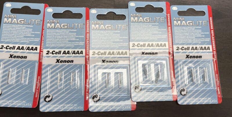 Lot Of 5 Maglite 2 Cell AA / AAA Mini-Mag Xenon Bulbs 2 Cell AAA 2 Cell AA