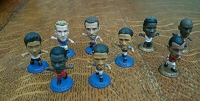 Corintian Football Figures x 9  Gold & Blue bases  2002 and 2003