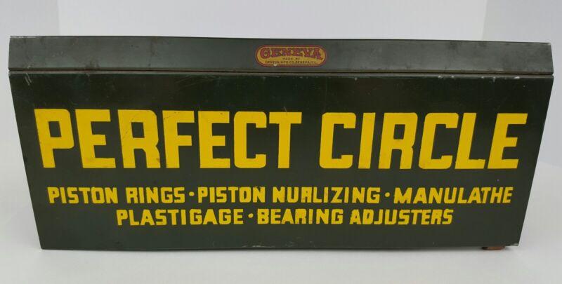 Vintage Perfect Circle Piston Rings Green Yellow Metal Garage Catalog Holder VG