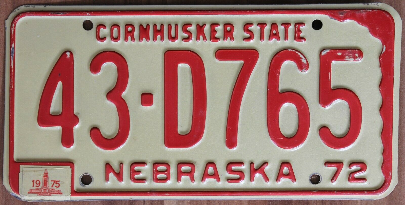Original Classic Nummernschild License Plate USA Nebraska 1975 Plaque Targa