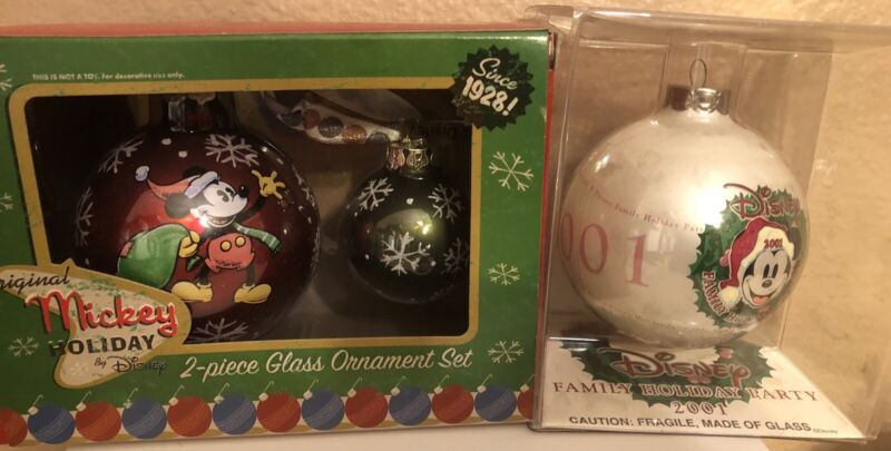 Disney Mickey Mouse Holiday Glass Ornament Set of 3