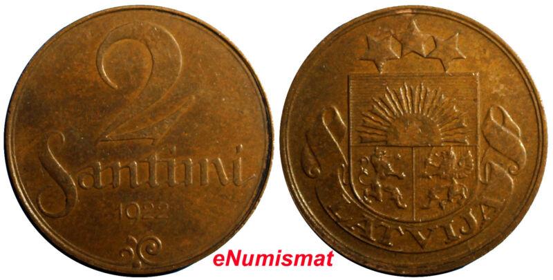 Latvia Bronze 1922 2 Santimi Mint name below Ribbon XF Condition KM# 2