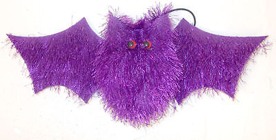 Purple Halloween Hanging Fuzzy Bat Decor 12in NIP