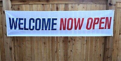 New Welcome Now Open Banner Huge Sign 2x8 Big Red White Blue Store Restaurant