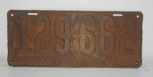 Missouri 1920 License Plate Pair # 129-662