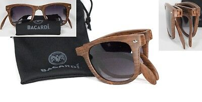 Folding Sunglasses Woodgrain Compact Fold Up Brown Bacardi Pocket Glasses