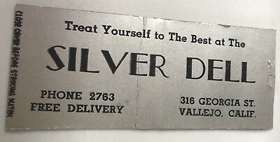Old Matchbook Cover Silver Dell Vallejo CA Treat Yourself To The (Treat Yourself To The Best)