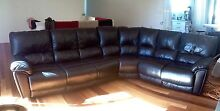 BLACK LEATHER CORNER SOFA FOR SALE Battery Hill Caloundra Area Preview