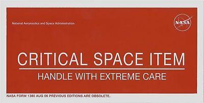 """NASA sticker 'CRITICAL SPACE ITEM' 4"""" x 8"""""""