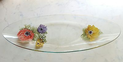 Vintage Decorated Floral Oval Glass Serving Tray