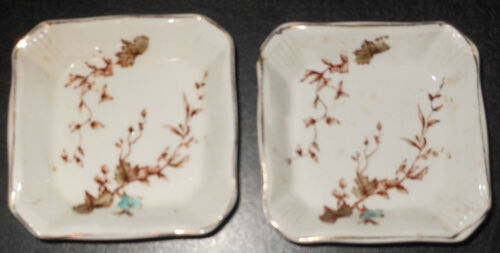 """2 Early Ridgways """"Buckingham"""" Butter Pats, Brown Transfer, Color Added, UK"""