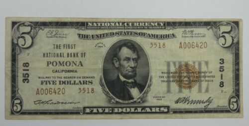 #3518 Series of 1929 $5 First National Bank of Pomona, CA VERY FINE Fr#1800-2