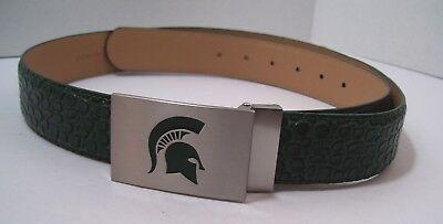 - Men's Leather Belt MSU Green Silver Spartans Buckle Alligator Print New