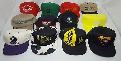 Vintage Farm Seed Feed Agriculture Hat 12 Hats Tractor Mesh Snap Back