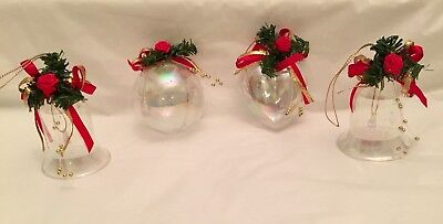 4 Clear Plastic Iridescent Christmas Ornaments